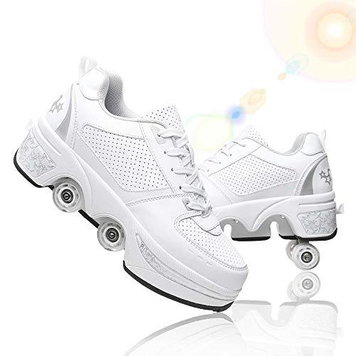 JZIYH Zapatillas con Ruedas Niños Niña Zapatos con Ruedas Zapatos De Roller Doble Rueda Patines Deportivo Al Aire Libre Gimnasia Zapatos De Skateboard