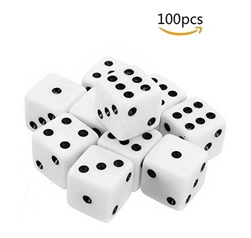 Dosige Würfelset 6seitig Würfel Dice Rollenspiel für Mathe Lernen Casino Spiele Party Favor und Geschenke Weiß 8mm 100 Stück
