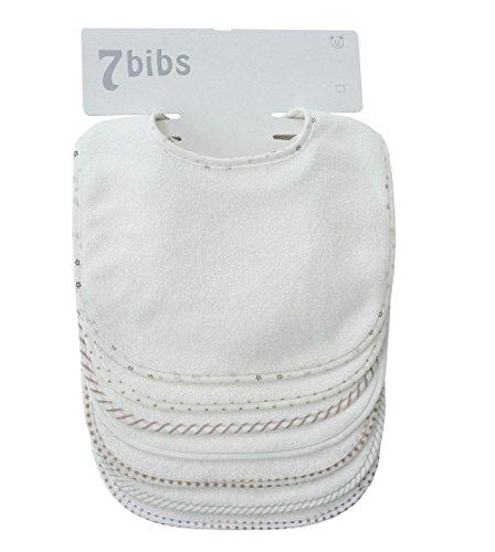 Bebé Niños Niñas Doble Capa Algodón Bandana Drool Suave Absorbente baberos (7 piezas) (white)