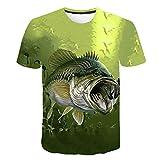 Camiseta para Niños con Vida Marina Estampado En 3D De Peces Divertidos Camisetas De Hip Hop para Niños Y Niñas Camiseta Informal De Pesca De Pescador YJ-TX-4871 5T