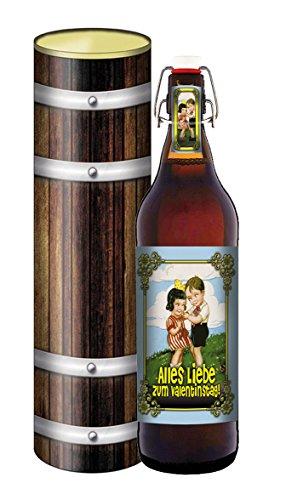 Valentinstag, Bier 1 Liter Flasche mit Bügelverschluss in der Geschenkdose im Holzdesign