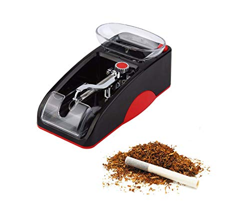 Portable Household Electric Cigarette Rolling Machine,Mini Automatic Injector Tobacco Roller Maker with Transparent Tobacco Hopper.(Red&Black)