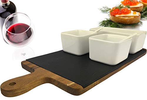 Solander Skelf Serving Tray Charcuterie Board Set - Acacia Cheese Board Slate Wooden tray | Dipping Bowls Set Rectangular and Square | Appetizer Snack Plates Server Cheeseboard Modern Large| Gift Idea