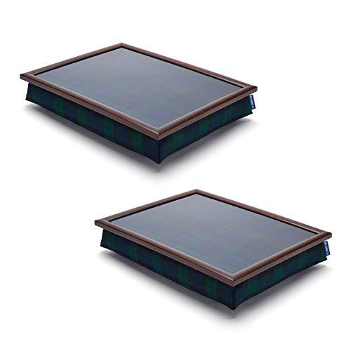 Pack of 2 Tartan Lap Trays for TV Dinner Bean Bag Bottom Cushioned Laptray...