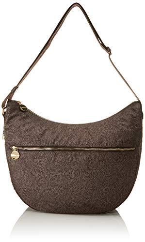 Borbonese Luna Bag Medium, Borsa a Tracolla Donna, Marrone (Tundra/Testa Moro), 35x38x15 cm (W x H x L)