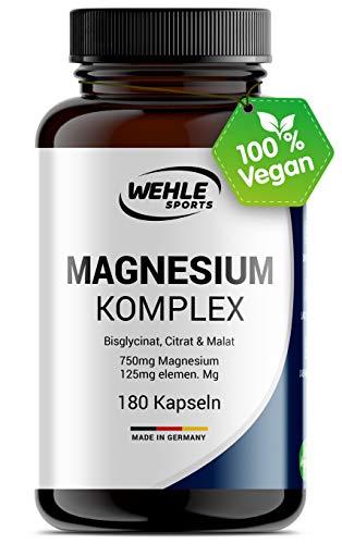 Magnesium Komplex 375mg elementares Magnesium je Tagesdosis. Magnesiumbisglycinat Magnesiumcitrat Magnesiummalat, hochdosiert, vegan (180 Kapseln)