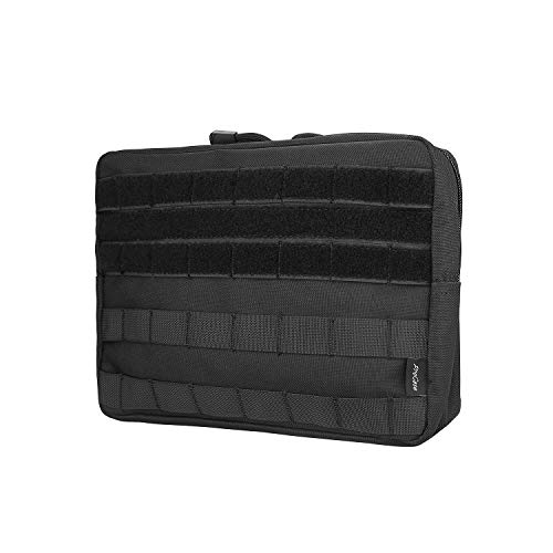 ProCase Tactical Admin Molle Pouch, Military MOLLE Pouch Horizontal Multi-Purpose Utility Gadget Gear Tool Bag for Magazine, Flashlight, Map and Other Small Tools for Outdoor Activities -Black