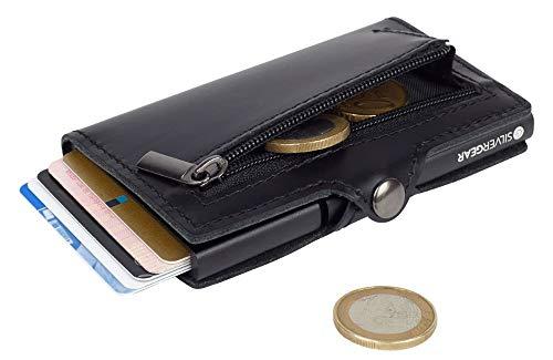 Silvergear Leder Pasjeshouder Portemonnee Zwart - RFID Anti-skim Bescherming - Voor Pasjes, Munt en Briefgeld - Heren en Dames