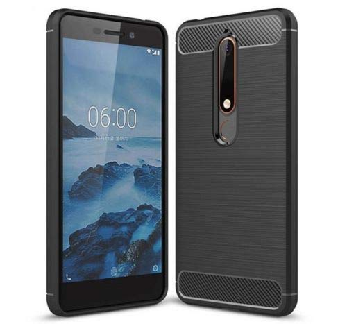 COPHONE® Coque de Protection Compatible Nokia 6.1 Etui antidérapent Coque Fibre de Carbone Noir Nokia 6 2018 Anti Choc