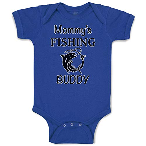 Custom Baby Bodysuit Mommy's Fishing Buddy Mom Mothers Funny Cotton Boy & Girl Baby Clothes Royal Blue Design Only 12 Months