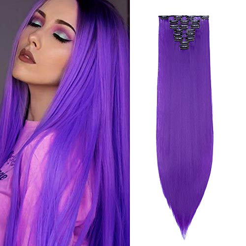 8 Pièces Extension A Clip Cheveux Pas Cher Lisse Raide 26 Pouces Extension A Clip Rajout Cheveux Synthétique, Violet Foncé