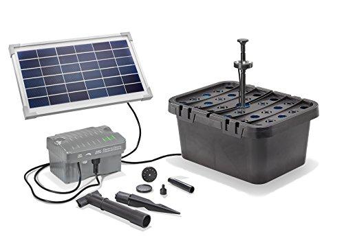 Solar Teichfilterset Starter 300 l/h Förderleistung 8 W Solarmodul + Akku 6V/3,2 Ah + LED Beleuchtung Komplettset bis 500l Gartenteich 101068