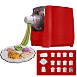 Electric Pasta Makers, Home Automatic Noodle Extruder Machine, 12 Noodle Shapes to Choose - Make Spaghetti, Fettuccine, Macaroni, or Dumpling Wrappers,One-key Automatic Operation For Kitchens (Red)
