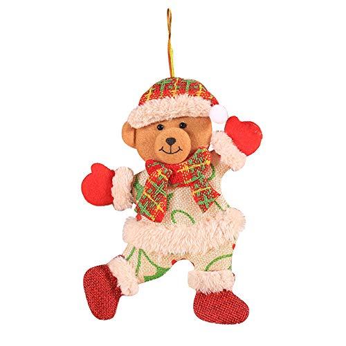 strimusimak Adorno De árbol De Navidad Colgante Adorno Colgante Decoración De Navidad para El Hogar (Papá Noel, Muñeco De Nieve, Alce) Oso