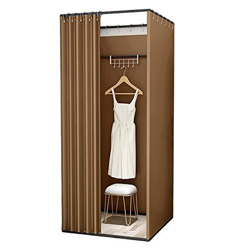 GGTT Rosa Shading Stoff Bekleidungsgeschäft Anprobekabine, Umkleideraum Vorhang, einfache Umkleidekabine for The Mall Büro (Color : Brown, Size : 100×100×200cm)