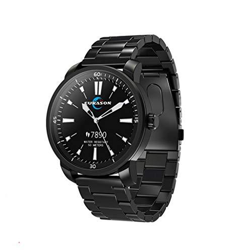 HHJEKLL Intelligentes Armband Smart Watch IP68 wasserdicht Bluetooth 4.0 Schrittzähler Schlafüberwachung Fitness-Tracker Herren Smart Watch, schwarzer Stahl