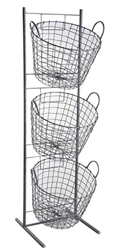 PEGANE Présentoir en métal Gris avec 3 corbeilles Rondes, 35 x 33 x 114 cm