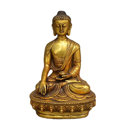 LOSAYM Ornaments Statues Sculptures Statue Ornaments Sculptures Tibetan Buddhis Shakyamuni Bronze Tibetan Buddha Statue Metal Handicraft Home Desktop Decoration