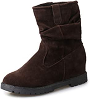 Women Girls Autumn Winter Solid Color Warm Boots Fashion Flat Half Boots Comfortable Ankle Boots Flat Shoes