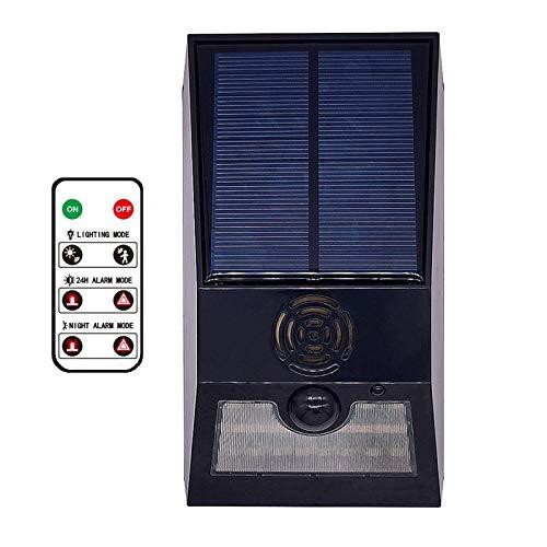 FLAMEER Luz Solar de alarma de sonido, luz de alerta con Control remoto, Sensor de movimiento de sirena de seguridad de sonido 129db, distancia de detección - Negro