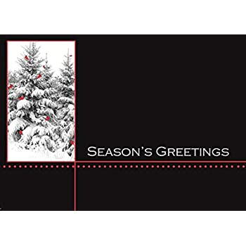 Holiday Greeting Cards - H1201. Show Appreciation During the Holiday Season to Friends, Business Associates and Co-Workers. Box Set Contains 25 Cards and 26 White with Red Foil Lined Envelopes.