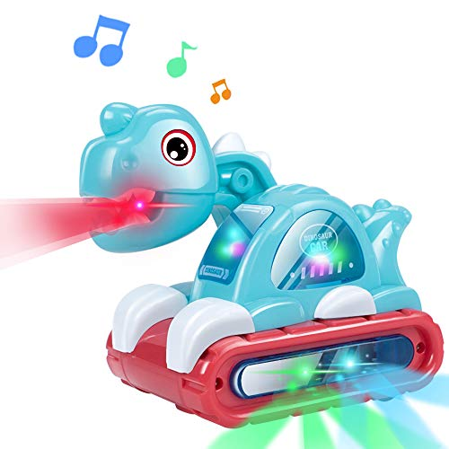 UNIH Musical Dinosaur Car Toy with Sounds and Lights for Baby 6 to 1218 Months Infant Early Crawling Developmental Toys for Boys Girls 1 2 3 Years Old