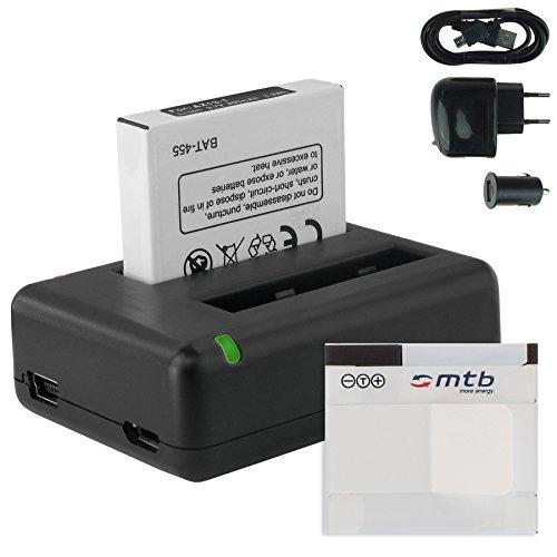 2X Batería + Cargador Doble (USB/Coche/Corriente) AZ13-1 para Xiaomi Yi Sport Action CAM