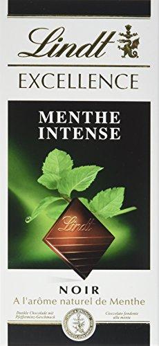 Lindt Chocolat Noir Menthe Intense la Tablette 100 g - Lot de 10
