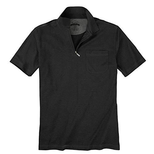 hajo Herren Poloshirt Übergröße mit Reißverschluss schwarz_100 3XL