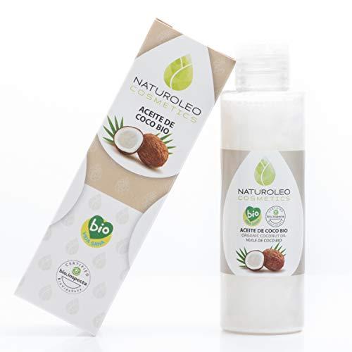 Naturoleo Cosmetics - Aceite de Coco BIO - 100{22d4d13f8974609cf7f333817ef08d0b7d83e4f308df79e0649ef340bfbb7210} Puro y Natural Ecológico Certificado