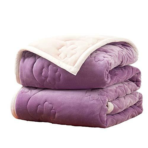 ZDNB Dicke Quilt-Flanelldecke zum Warmhalten in Winterdecken Lila Fleecedecke 150 * 200 cm, luxuriöse einseitige Fleecedecke für Sofas und Haustiere, exquisit und bequem
