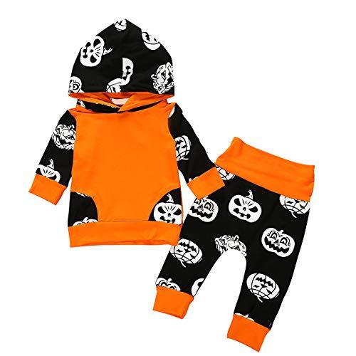Borlai 2 STKS Baby Jongens Halloween Outfits, Peuter Trainingspakken Pompoen Hoodie + Broek voor 0-24 Maanden