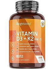 Vitamine D3 en K2 tabletten - 4000 IE - Natuurlijk Vitamine K Menachinon MK7 en Vitamine D supplement voor de botten en weerstand - 180 tabletten