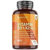 Vitamina D3 K2 180 Comprimidos - Vitamina D3 4000UI Vitamina K2 100 µg, Alta Absorción y Biodisponibilidad MK7 99,7% All-Trans, Vit D Colecalciferol Contribuye al Mantenimiento Normal Sistema Inmune