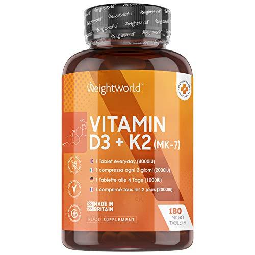Vitamine D3 K2 (MK-7) Extra fort 4000 ui - 180 Micro Comprimés soit 1 an d'utilisation pour Homme et Femme | Vitamine D 4000 ui (Cholécalciférol) et Vitamine K MK 7 Végétarien