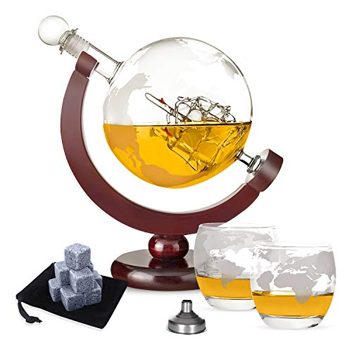 TTMOW Whisky Karaffe Globus für Alkohol,Whisky Steine Set - 9 Eiswürfel wiederverwendbar aus Basalt mit Samtbeutel,2 Whiskygläser