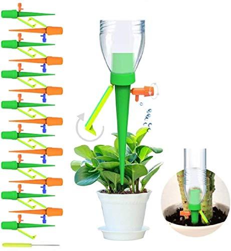 Set di 15 picchetti per irrigazione a goccia automatica, a Rilascio Lento, con valvola di Controllo, per Piante da Interni ed Esterni