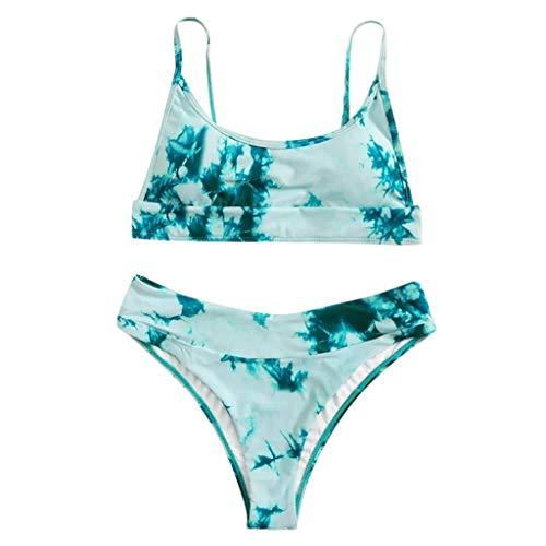 Bikinis Mujer 2020 Push up Sexy Cintura Alta Conjunto de Traje de BañO Estampado Tie-Dye Baño de Dos Piezas Tops y Braguitas Ropa de Playa riou …