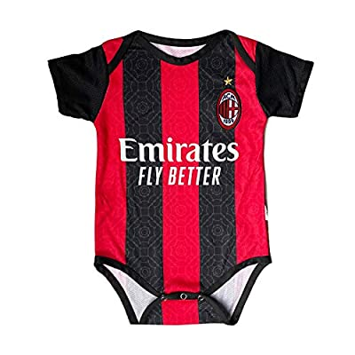 ODOSAN Football Club Baby Bodysuit Comfort Jumpsuit for 0-18 Months Infant and Toddler 2020/21 New Season (AC-Milan 1, 0-9 Months Baby)