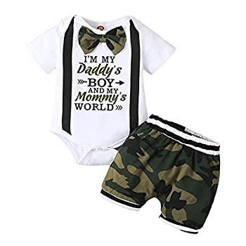 Viworld Baby Boy Gentleman Clothes Infant Boy Bow Tie Short Sleeve Letter Romper Camo Shorts Set Summer Outfit Camouflage,12-18 Months