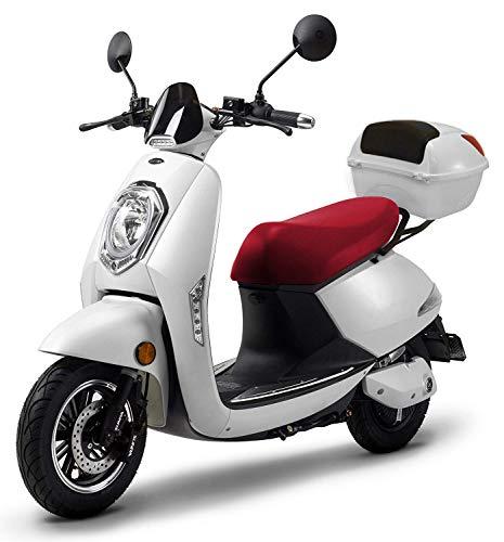 Elektroroller Elettrico Li, 1200 Watt, bis zu 120 km Reichweite, E-Moped, Elektro Mofa, E-Mofas Elektroroller mit Straßenzulassung, 25 km/h, herausnehmbarer Lithium-Akku, Produktvideo Weiß