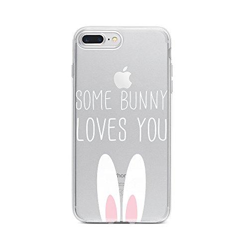 licaso Handyhülle kompatibel für Apple iPhone 8 Plus I Schutzhülle aus TPU mit Some Bunny Loves You Print I Transparente Hülle Handy Aufdruck I Weich Silikon Durchsichtig