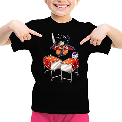Okiwoki T-Shirt Enfant Fille Noir Dragon Ball Z - DBZ parodique Songoku et Freezer : Tour de Magie. : (Parodie Dragon Ball Z - DBZ)