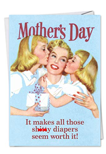 NobleWorks - Funny Vintage Mothers Day Greeting Card - Retro Notecard for Mom or Stepmom - Sh-tty Diapers Worth It 7396