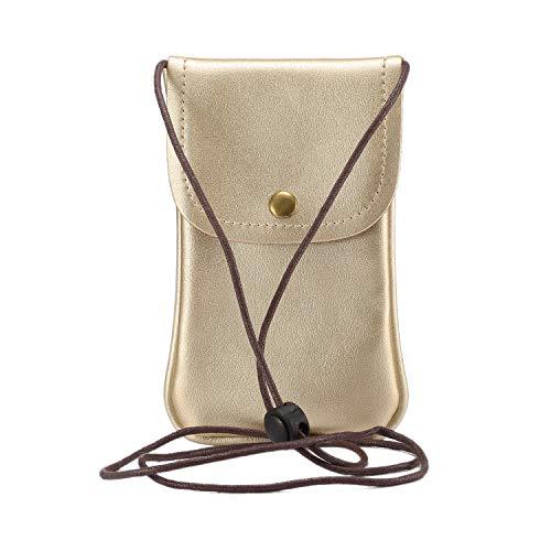 SZCINSEN Kleine Umhängetasche für Frauen, Reise-Handy-Tasche für iPhone Xs Max, 11 Pro Max, Xs, X, 8 Plus, 7 Plus, 6 Plus (Farbe: Gold)