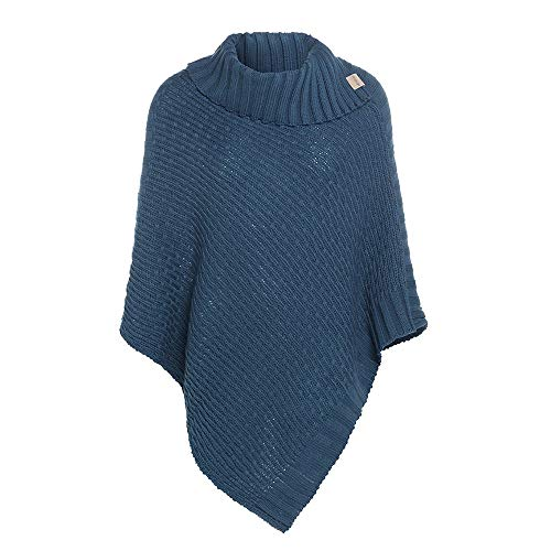 Knit Factory - Nicky Gestrickter Poncho - Petrol - One Size