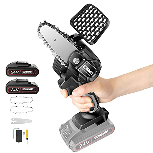 Cordless Mini Chainsaw Electrical Saw Wood Saw Power Chain Saws Portable Handheld 4-Inch 24V Rechargeable for Trimming Wood Cutting Shears Pruning Logging Gardening Courtyard Household