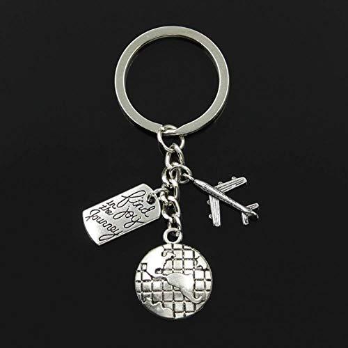 YCEOT Key Ring Mode 30Mm Sleutelhanger Sieraden Zilver Wereld Reizen Zoek Vreugde In Reis Vliegtuigen Vliegtuig Hanger