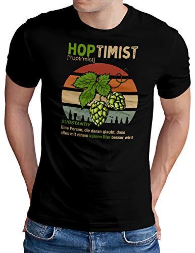 OM3® Hoptimist T-Shirt | Herren | Bierliebhaber Hopfen Bier Fun Party Retro | Schwarz, L
