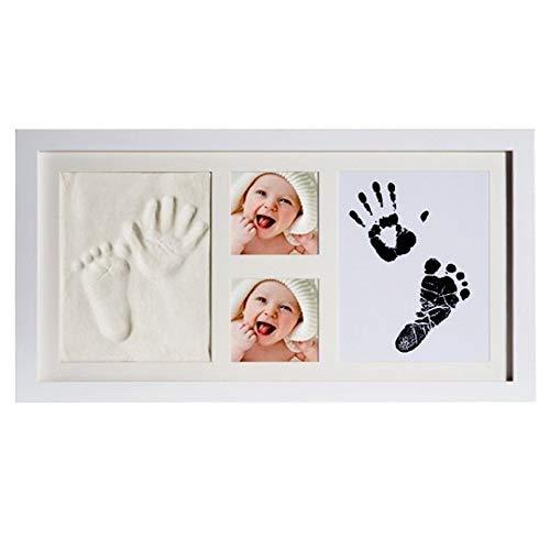 Baby Handabdruck und Fußabdruck,Baby Handprint Footprint Clay Fotorahmen, Holzrahmen und Acrylglas, Gips- & Abdrucksets für Babyerinnerungen, Zeremonie, Party, Meilo (white-XL-41 * 22cm)